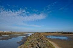 Dried salt evaporation ponds Stock Images