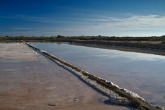 Dried salt evaporation ponds Stock Photo
