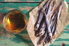 Dried salted capelin and beer Stock Photography