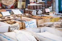 Dried salted cod fish bacalhau in traditional market in Palermo