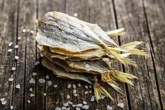 Dried Salted Fish. Royalty Free Stock Photo