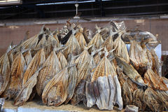 Dried salted fish at market Royalty Free Stock Photo