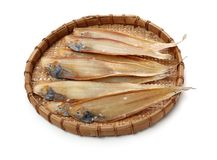 Dried salted fishes royalty free stock photo