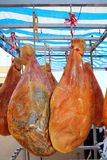 Dried salted pork ham from Spain hanged Stock Image