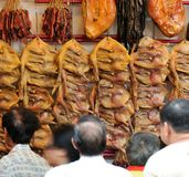 Dried Salty Preserved DucK. A popular traditional Chinese delicacy, dried salty preserved ducks sold at Singapore Chinatown during the Lunar New Year season Royalty Free Stock Photography