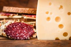 Dried sausage and cheese for breakfast, royalty free stock image