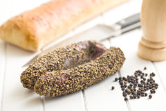 Dried sausage with pepper Stock Photography