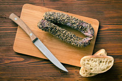 Dried sausage with peppercorn Stock Photography
