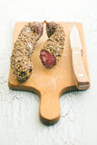Dried sausage with peppercorn Stock Images