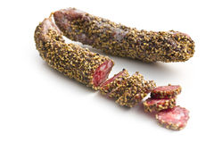 Dried sausage with peppercorn Stock Photo
