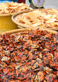 Dried seafood. Dried mussels  in seafood market,Thailand Royalty Free Stock Images