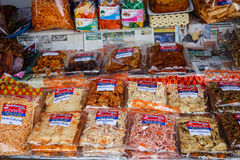 Dried seafood packaged in bags for sale Stock Photo