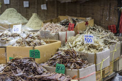 Dried seafood on sale in a thai street market  Royalty Free Stock Photo