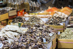 Dried seafood on sale in a thai street market  Stock Photo