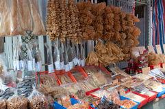 Dried seafood shop royalty free stock image