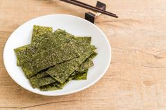 Dried seaweed on plate Royalty Free Stock Photo