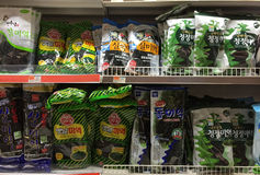 Dried seaweed on shelves selling Stock Photo