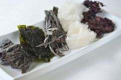 Top view of dried kelp, nori, dulse, wakame, alaria and agar agar seaweed royalty free stock photography