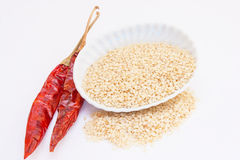Dried with sesame seeds on a white background. Stock Photography