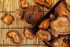 Dried Shiitake Mushroom on mat earth tone Stock Images