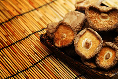 Dried Shiitake Mushroom on mat earth tone Stock Photo