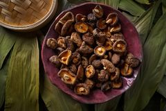 Dried Shiitake mushrooms edible Asian food. Dried Shiitake mushrooms edible for Asian cuisine food Royalty Free Stock Photography