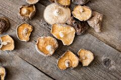Dried shiitake mushrooms on a wooden background