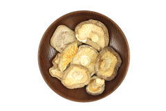 Dried shiitake mushrooms in a wooden plate. On a white background Stock Images