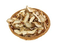 Dried Shitaki Mushrooms Overhead View Stock Photos