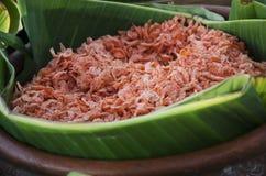 Dried shrimp on banana leaf in basket Stock Photography