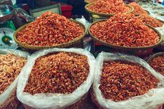 Dried shrimp in the fish market. Stock Photos