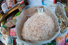 Dried shrimp. Pile of white dried shrimp in Chinese grocery Royalty Free Stock Photo
