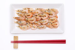 Dried shrimp on plate Stock Image