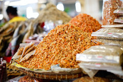Dried shrimps on market Stock Images