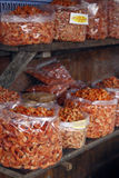 Dried shrimps on a market stall Royalty Free Stock Photography