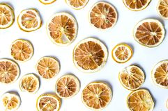 Dried sliced lemon background pattern isolated Stock Images