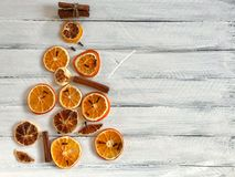 Dried slices of citrus fruits laid out figure holiday tree Stock Images