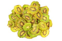 Dried slices of green kiwi fruits isolated on a white background royalty free stock photography