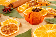 Dried slices of oranges, lemons, star anise, cinnamon sticks, Christmas background Royalty Free Stock Images