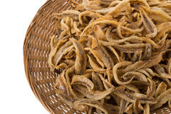 Dried Small fish anchovies and crispy Seafood isolated on white Stock Image