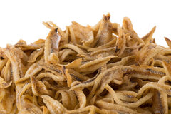 Dried Small fish anchovies and crispy Seafood isolated on white Stock Photos