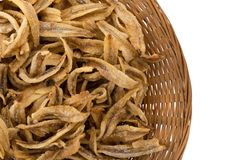 Dried Small fish anchovies and crispy Seafood isolated on white. Background Royalty Free Stock Images