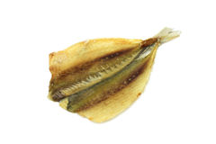 Dried small fish. On a white background Stock Photos