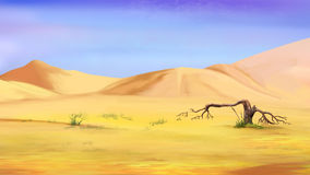 Dried Small Tree in the Desert. Digital Painting, Illustration of a small dried tree in the desert. Cartoon Style Character, Fairy Tale Story Background Stock Images