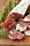 Dried smoked sausage sliced  Royalty Free Stock Photo
