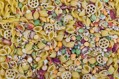 Dried soup mix. With noodle and peas stock images
