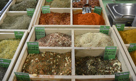 Dried Spice Mixes. A selection of dried herb and spice mixes on an Italian spice market stall - dried chilies, pasta mix, arrabbiata mix, ground chilli Royalty Free Stock Image