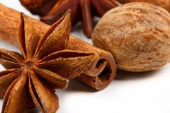 Dried spices on white background. Macro closeup stock images