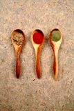 Dried spices in wooden spoons. Stock Photos