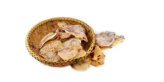 Dried squid basket Royalty Free Stock Photo